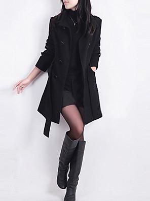 Dámské Jednobarevné Velké velikosti Trenčkot-Bavlna / Polyester Podzim Košilový límec Dlouhý rukáv Černá / Hnědá Střední