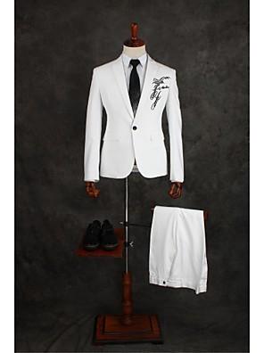 Suits Moderno Italiano Fino Comum 1 Butão Misto de Algodão Cor Solida 2 Peças Branco Lapela Reta Duas Pregas Branco Duas Pregas Apliques