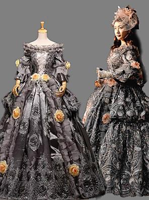 /שמלותחתיכה אחת לוליטה גותי Steampunk® / ויקטוריאני Cosplay שמלות לוליטה אפור טלאים / וינטאג' שרוול ארוך ארוך שמלה ל נשיםסאטן / תחרה /