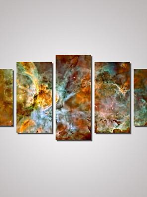 Abstrakt / Landskab / Kort Lærred Udskriv Fem Paneler Klar til at hænge , Horisontal