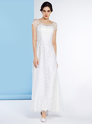 lanting 신부 칼집 / 열 웨딩 드레스 발목 길이 특종 얇은 명주 그물