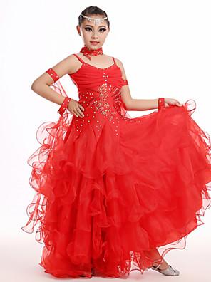 ריקוד לטיני תלבושות בגדי ריקוד ילדים ביצועים שיפון עטוף 5 חלקים שרוולים / שמלותDress length S:70cm / M:80cm / L:90cm / XL:100cm /XXL: