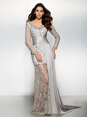 레이스와 TS couture® 공식적인 이브닝 드레스 칼집 / 칼럼 V 넥 watteau 기차 쉬폰 / 레이스
