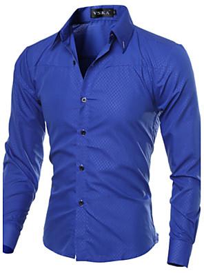 אנשיו של חולצה משובץ כותנה / פוליאסטר שרוול ארוך יום יומי שחור / כחול / אדום / לבן