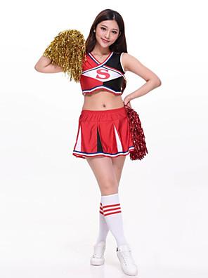 תלבושות למעודדות תלבושות בגדי ריקוד נשים ביצועים פוליאסטר רקמה 2 חלקים בלי שרוולים גבוה חצאית / עליון 65-69cm