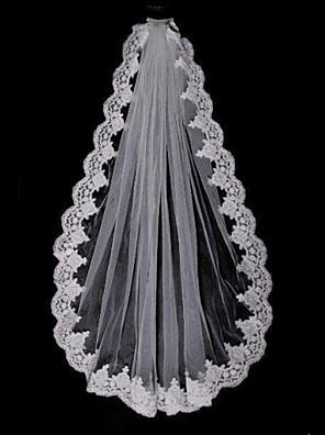 웨딩 면사포 한층 팔꿈치 베일 / 손가락 베일 레이스처리된 가장자리 명주그물 화이트 화이트 / 베이지