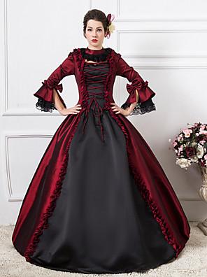 Jednodílné/Šaty Gothic Lolita Steampunk® / Viktoria Tarzı Cosplay Lolita šaty Červená Patchwork / Retro Dlouhé rukávy Long Length Šaty Pro