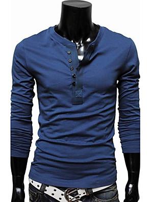 Effen-Informeel / Grote maten-Heren-Katoenmix-T-shirt-Lange mouw Zwart / Blauw / Bruin / Groen / Rood / Wit
