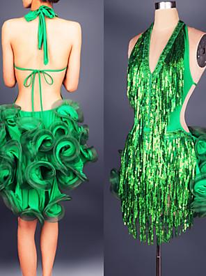 Dança Latina Vestidos Mulheres Actuação Cetim Chifom / Modal Plissado 1 Peça Sem Mangas Vestidos min:75-80cm max:89-96