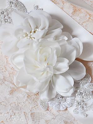 Cetim Casamento / Festa/Noite / Dia a Dia Faixa-Apliques / Pérolas / Florais / Pedraria Feminino 98 ½polegadas(250cm)Apliques / Pérolas /