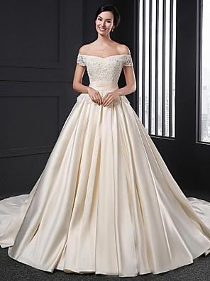A-line Wedding Dress Chapel Train Off-the-shoulder Satin with Flower / Appliques