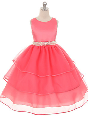 Girl's Solid Dress,Polyester Summer / Fall / Spring Green / Pink / Purple / Red / White