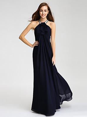 Lanting Bride® עד הריצפה שיפון שמלה לשושבינה - מעטפת \ עמוד קולר עם חרוזים / פרטים מקריסטל / קפלים