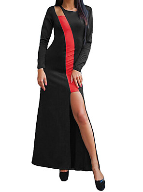 Mulheres Vestido Maxi Manga Longa Decote Redondo Camadas Mulheres