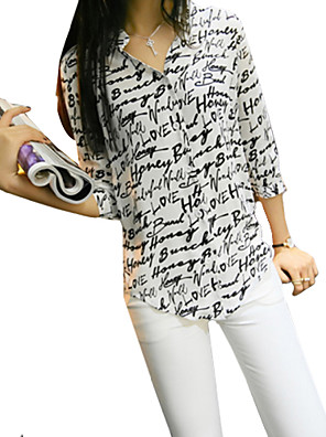 Chemise Aux femmes,Imprimé Décontracté / Quotidien simple Eté Manches ¾ Col de Chemise Blanc Polyester Fin
