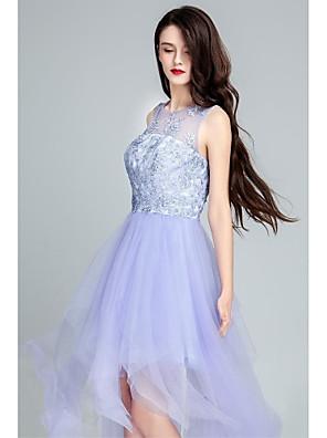 Coquetel Vestido De Baile Decote em U Longo Tule com Apliques