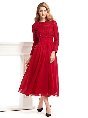 Lanting Bride® גזרת A שמלה לאם הכלה  באורך הקרסול שרוול ארוך שיפון / תחרה - תחרה