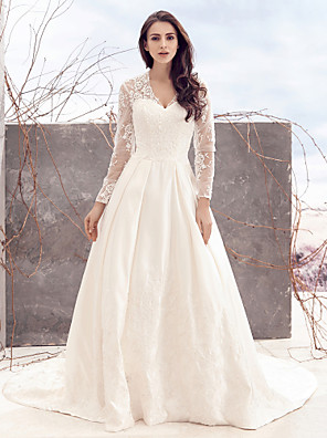 Lanting Bride A-line Wedding Dress-Chapel Train V-neck Lace / Satin