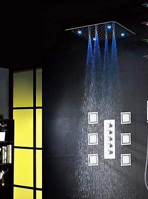 """Zuhany csaptelep - Kortárs - LED / Zuhany """"eső""""szórófej / Widespary / Kézi zuhanyzót tartalmaz - Bronz ( Króm )"""