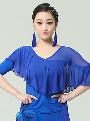 Dança de Salão Blusas Mulheres Actuação Viscose Pano 1 Peça Meia manga Natural Top S:50cm M:52cm L:54cm XL:56cm XXL:58cm