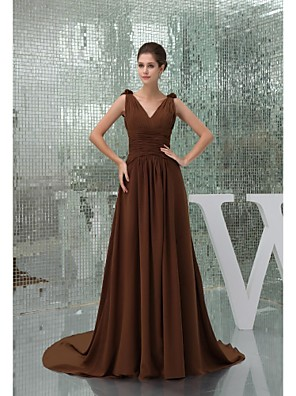 Cathedral Train Chiffon Bridesmaid Dress Ball Gown V-neck with