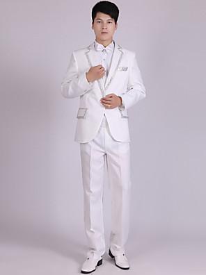 חליפות גזרה מחוייטת פתוח חזה כפול 6 כפתורים פוליאסטר פסים 4 חלקים לבן / כסוף