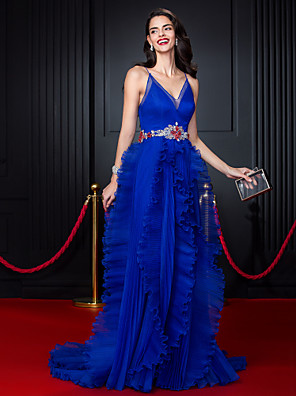 TS Couture® Formal Evening Dress A-line Spaghetti Straps Court Train Organza with Beading / Ruffles / Sash / Ribbon