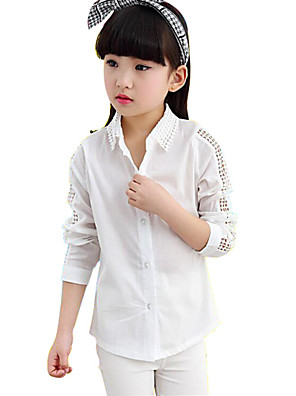 Girl's Solid Shirt,Cotton Spring / Fall Pink / White / Yellow