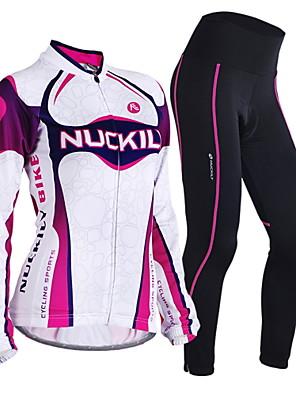 NUCKILY® חולצה וטייץ לרכיבה לנשים שרוול ארוך אופנייםנושם / שמור על חום הגוף / עמיד / עיצוב אנטומי / חדירות ללחות / רוכסן קדמי / תיק קטל