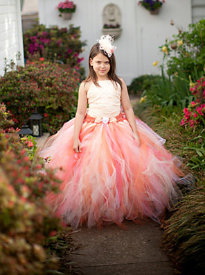 Ball Gown Ankle-length Flower Girl Dress - Tulle / Polyester Sleeveless Jewel with