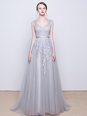 Cocktail Party / Formal Evening Dress A-line V-neck Sweep / Brush Train Tulle with Beading / Lace / Sequins