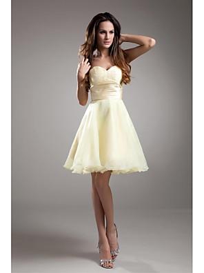 Lanting Bride® באורך  הברך טפטה שמלה לשושבינה - גזרת A סטרפלס עם חרוזים