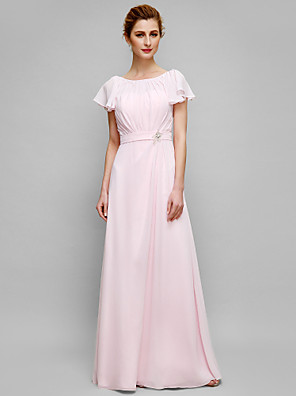 Sheath / Column Mother of the Bride Dress Floor-length Short Sleeve Chiffon with Crystal Detailing / Draping