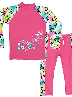 3~10Y Kids Girls Summer Flowers/Butterfly Pattern UV Protection(UPF 50+)  Swimsuit/Swimwear (Cloth+Pant)with Long Sleeve