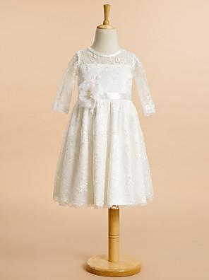Lanting Bride A-Linie Ke kolenům Šaty pro květinovou družičku - Krajka Poloviční rukáv Kopeček s Krajka