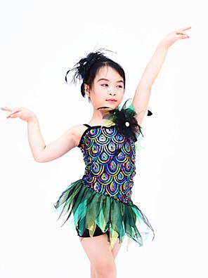 שמלות בגדי ריקוד נשים / בגדי ריקוד ילדים ביצועים ספנדקס / אורגנזה / נצנצים קפלים / נצנצים בלי שרוולים טבעי