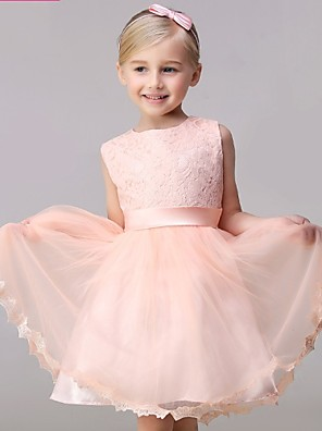 A-line Short / Mini Flower Girl Dress - Lace / Tulle Sleeveless Jewel with