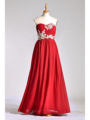 Lanting Bride® עד הריצפה שיפון / תחרה / שרמוז שמלה לשושבינה - גזרת A מחשוף לב עםאפליקציות / חרוזים / תחרה / בד נשפך בצד / קפלים / סגנון