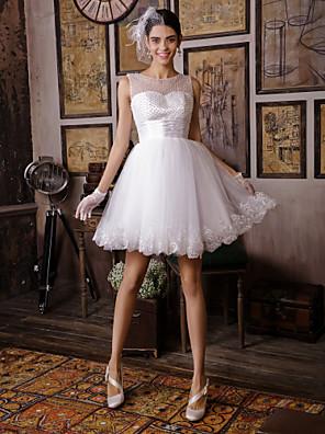 A-Linie Svatební šaty Ke kolenům Popruhy s