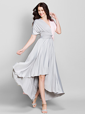 Lanting Bride® א-סימטרי ג'רסי שמלה לשושבינה - גזרת A צווארון וי עם בד בהצלבה