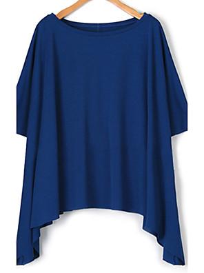 Mulheres Blusa Casual Simples Verão,Sólido Azul / Branco / Preto / Cinza Algodão Decote Redondo Manga Curta Média