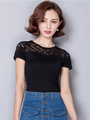 Mulheres Camiseta Casual Simples / Moda de Rua Verão,Sólido Preto Algodão / Poliéster Decote Redondo Manga Curta Fina