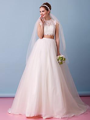 Lanting Bride® A-Linie Svatební šaty Dva díly Velmi dlouhá vlečka Klenot Krajka / Tyl s Krajka