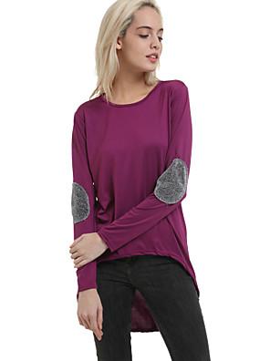 Färgblock Långärmad T-shirt Kvinnors Rund hals Bomull