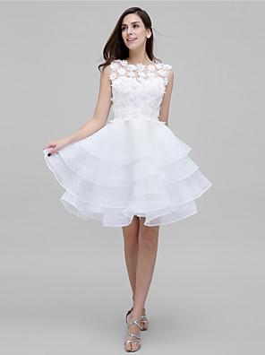 칵테일 파티 couture® TS 꽃이있는 줄 보석 무릎 길이 얇은 명주 그물 드레스 (들)