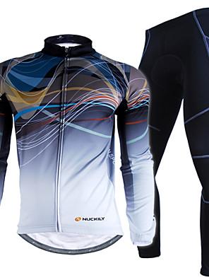 NUCKILY® חולצה וטייץ לרכיבה לגברים שרוול ארוך אופניים עמיד למים / שמור על חום הגוף / עמיד / מוגן מגשם / רצועות מחזירי אורחולצה+מכנס /