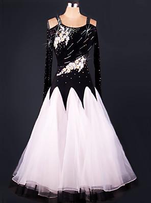Standardní tance Šaty Dámské Výkon Čínský nylon / Organza Nařasený Jeden díl Šaty Dress length S-XXL: 125cm