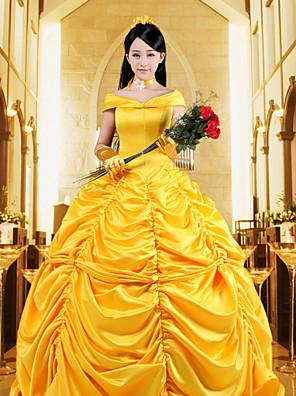 Uma-Peça/Vestidos Lolita Clássica e Tradicional Steampunk® / Princesa Cosplay Vestidos Lolita Laranja Cor Única Sem Mangas Lolita Vestido