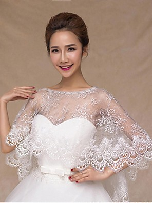 Wraps Wedding Poncho Senza maniche Pizzo / Tulle Bianco Matrimonio / Da sera Ovale Pizzo / Con perle / Con strass Pullover