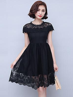 Mulheres Vestido Evasê / Rendas Vintage / Moda de Rua Sólido Altura dos Joelhos Gola Redonda Algodão / Poliéster